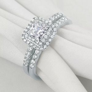 Jewelry - Silver Engagement Wedding Ring Set 1CT Halo CZ 5